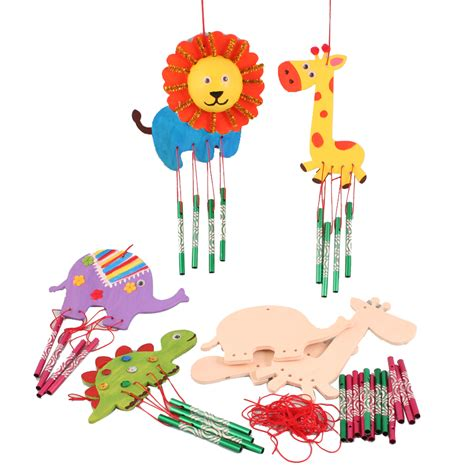 Handmade Childrens Toys - 6 pcs children wood drawing board handmade diy wind chimes