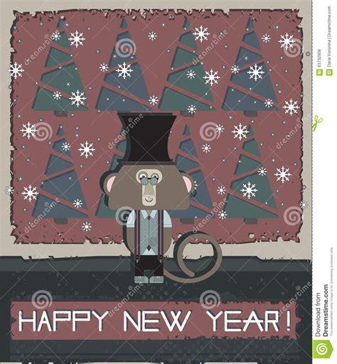new year monkey card design happy new year greeting card with stylish monkey stock