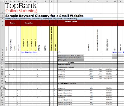 Download Optimize Templates For Keyword Glossary Editorial Plan Website Editorial Calendar Template