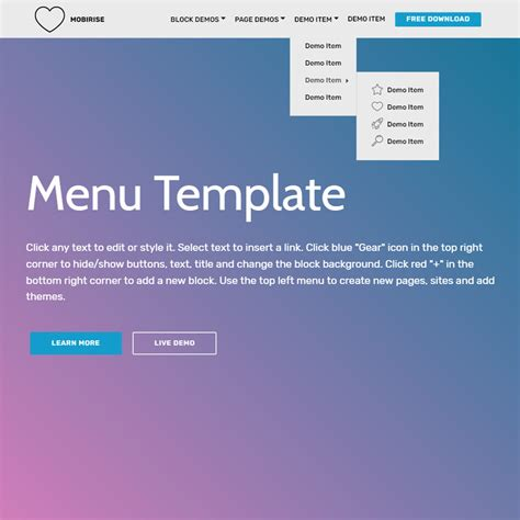 menu template pages free bootstrap template 2018