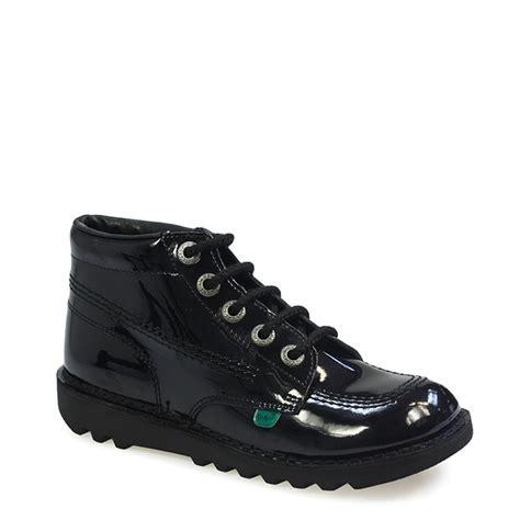 kickers kick hi shoes black patent leather ankle