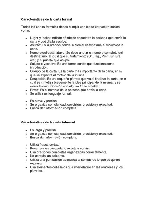 caracteristicas de una carta formal e informal caracter 237 sticas de la carta formal