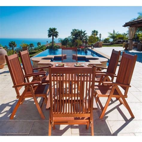 Wooden Patio Dining Sets 7 Wood Patio Dining Set V189set8