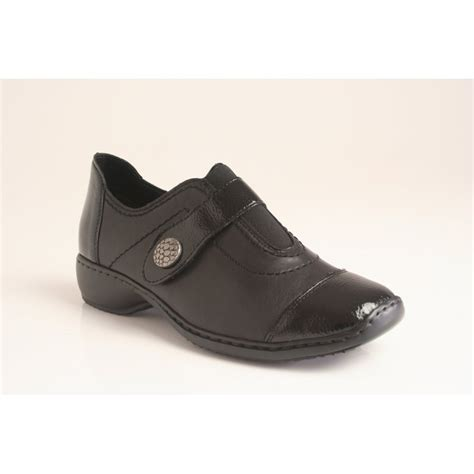 rieker slip on shoe with velcro fastening the