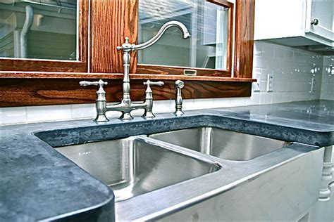 Concrete Countertop Price Estimate by Kitchen Countertop With Stainless Steel Farm Sink Custom