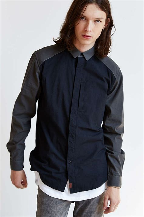 Marshall Raglan marshall artist raglan sleeve two tone button shirt