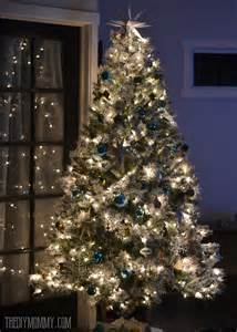 tree silver white:  teal green silver and white vintage inspired flocked christmas tree