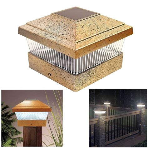 Outdoor Deck Post Lighting Solar Led Powered Light Garden Deck Cap Outdoor Decking Fence L Post Square Ebay