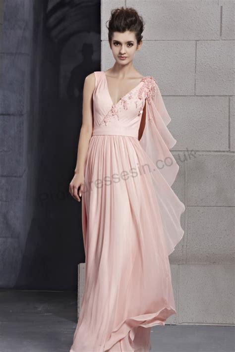 Polkie Asymetric Top pink asymmetric shoulder v neck ruffle chiffon evening