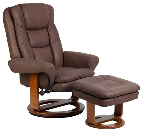 Swivel Recliner Modern by Mac Motion Chocolate Nubuck Bonded Leather Swivel Recliner