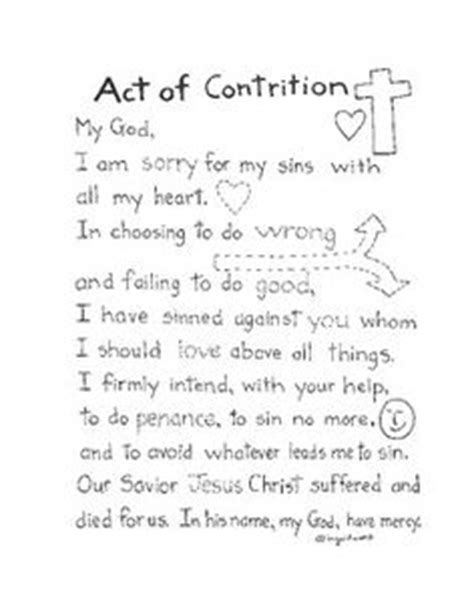 Act Of Contrition Worksheet by A True Catholic Version Of The Ten Commandments For