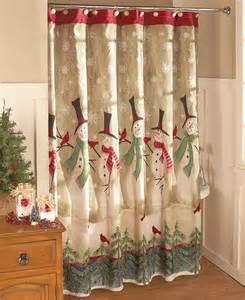 Snowmen bathroom shower curtain holiday winter scene christmas bath