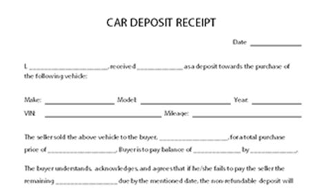 ms word microsoft vehicle deposit receipt template car deposit receipt template
