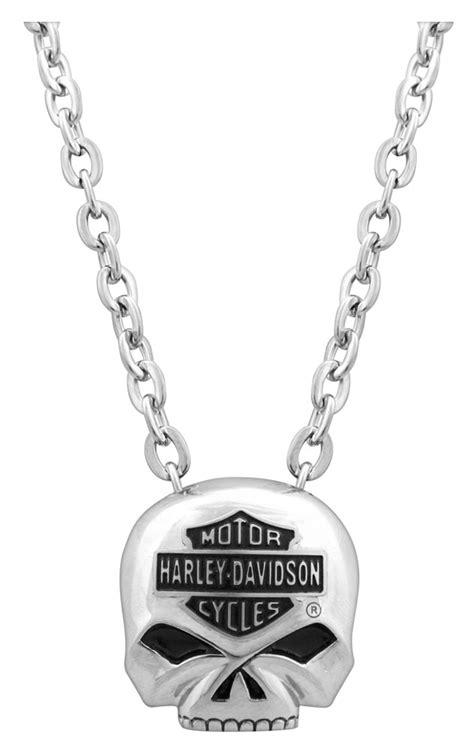 harley davidson mens bar shield skull necklace stainless steel 22 hsn0024 22 ebay