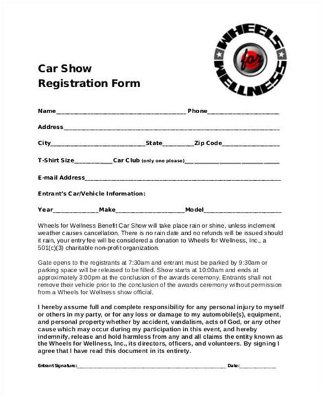 Registration Form Templates Vehicle Information Form Template