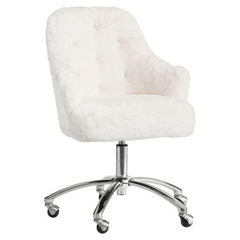 white fur desk chair polar bear faux fur tufted desk chair pbteen
