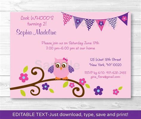 printable birthday invitations uk girl owl blossom printable birthday invitation editable