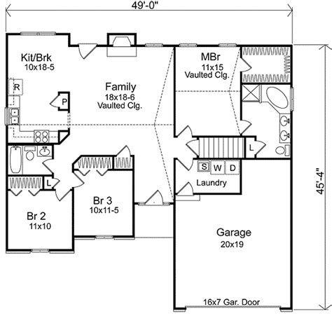 basic ranch floor plans simple ranch with vaulted family room 22000sl 1st