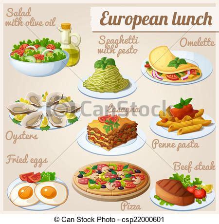 clipart pranzo clipart vettoriali di cibo pranzo set icone europeo