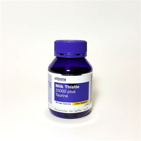Taurine Liver Detox by Blooms Milk Thistle 35000mg Plus Taurine 60 Capsules