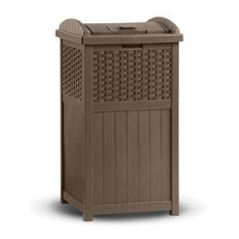 Patio Garbage Can by Resin Plastic Wicker Look Patio Deck Poolside Trash Can