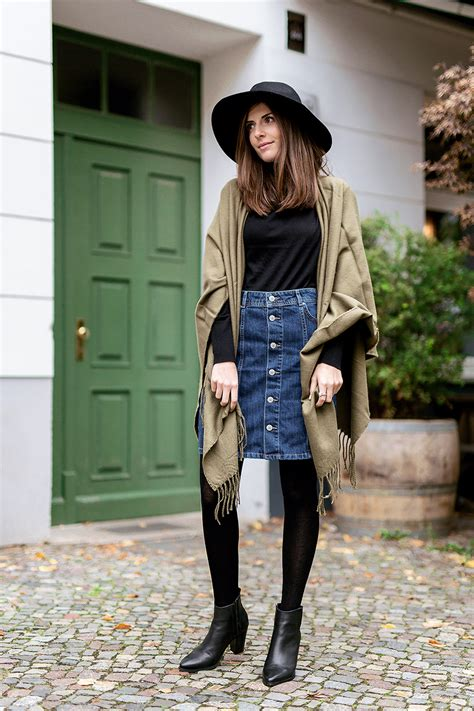 how to wear a denim skirt in winter