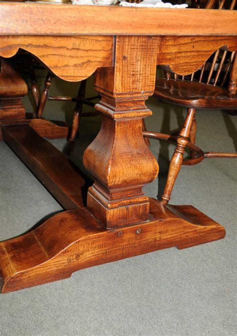 chunky oak refectory table kitchen trestle rustic