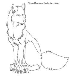 Wolf Sitting Outline by Sitting Wolf Lineart By Firewolf Anime On Deviantart