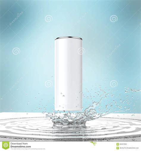 Blank White Energy Drink Can Mock Up With Water Splash 3d Render On Dark Background Stock Energy Drink Design Template
