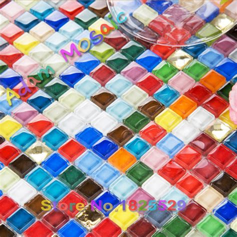 Fliese 10x10 by Iridescent Glass Tile Mirror Multi Colored Shower Wall