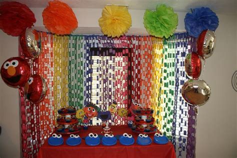 2nd birthday decorations at home sesame street homemade party decorations home made