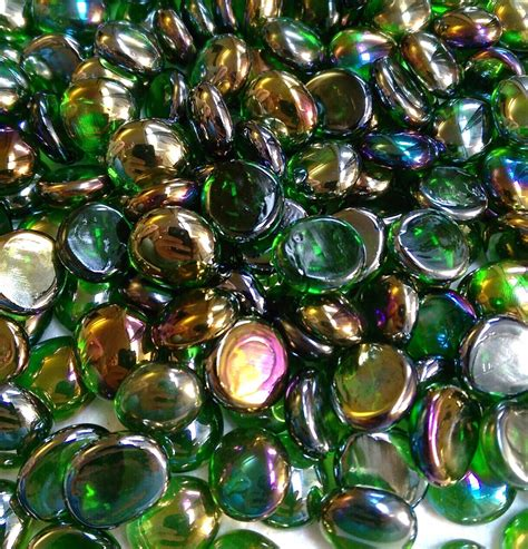 Bulk Vase Gems by Creative Stuff Glass 500 Pcs Irid Green Glass