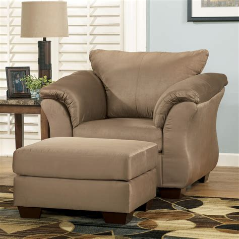 upholstered chair and ottoman signature design by darcy mocha contemporary