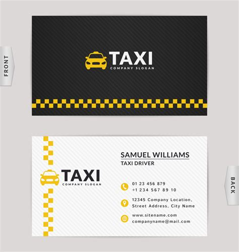 Taxi Business Card Yellow With Black Color Vector Template 02 Free Download Taxi Business Cards Templates Free