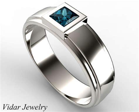 unique mens princess cut blue wedding ring vidar