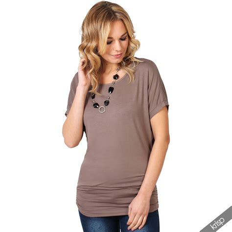boat neck tops uk womens ladies oversized batwing boat neck jersey long top