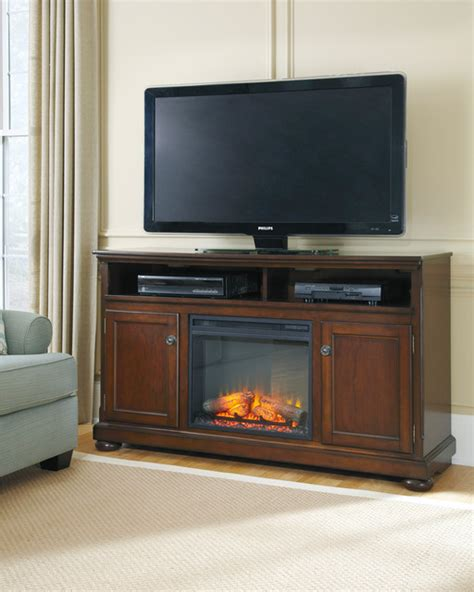 signature design by porter rustic brown large tv