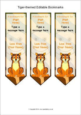 printable bookmarks sparklebox tiger themed editable bookmarks sb10622 sparklebox