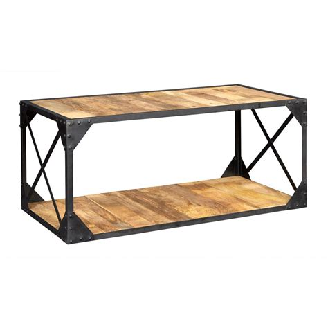 Metal Wood Coffee Table Vintage Up Cycled Industrial Coffee Table With Shelf Metal And Wood
