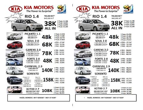 kia list kia 2010 pricelist