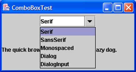 font in java swing listening for changes to the selected item in a jcombobox