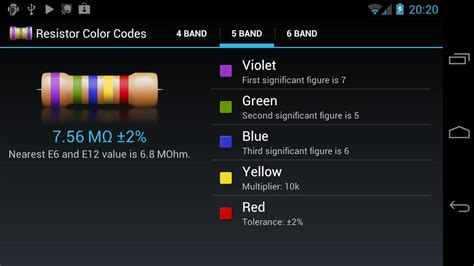 resistor color codes for android xtronic