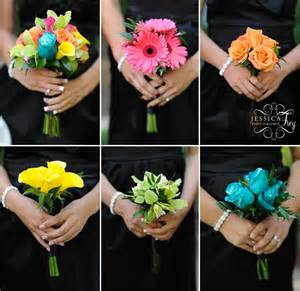 bridesmaid flowers and black wedding bouquet frey wedding photography