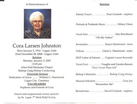 lds funeral program template cardon organization cora larsen johnston