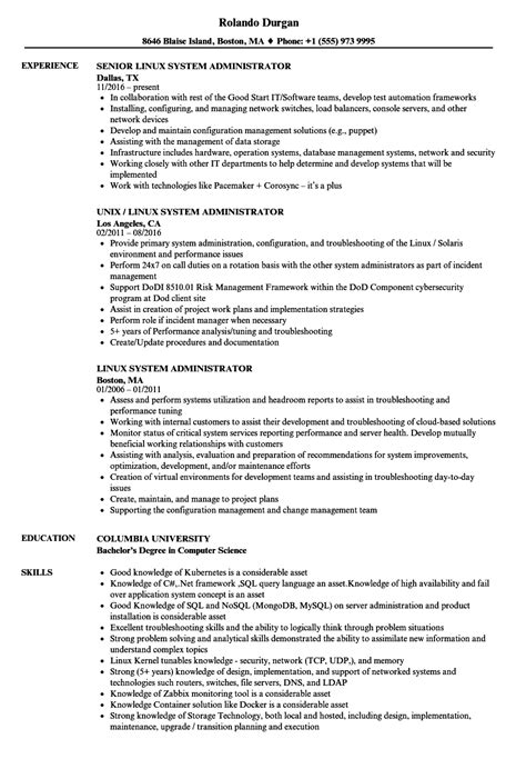 experience resume format for linux system administrator linux system administrator resume sles velvet