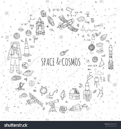 Doodle Space And Cosmos Set Vector Illustration