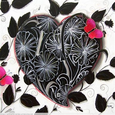 imagenes chidas en negro corazon floral blanco y negro andr 233 s fern 225 ndez artelista com