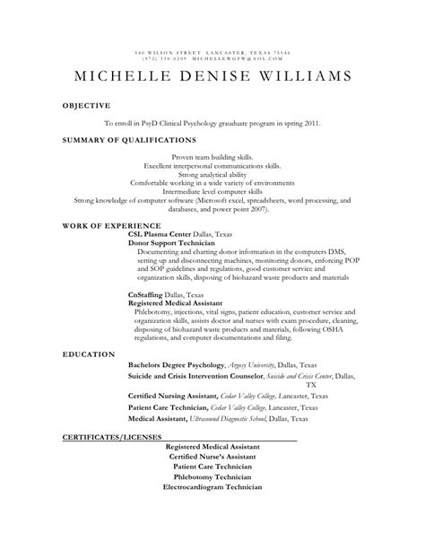 Resume Career Objective Psychology resume psyd clinical psychology