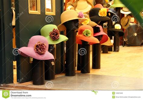 hat shop mannequins with s hats stock photo image