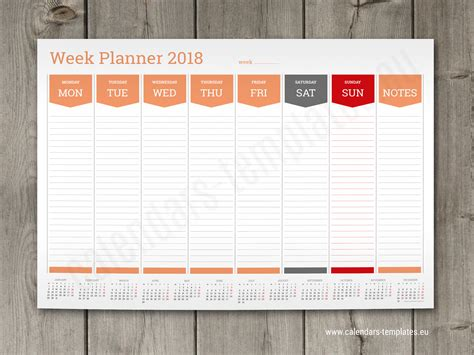 Week Wise 2018 Calendar Printable Calendarbuzz Calendar Planner Template 2018